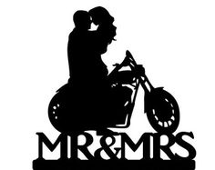Motorcycle Couple Wedding Cake Topper by 1TheCherryOnTop on Etsy