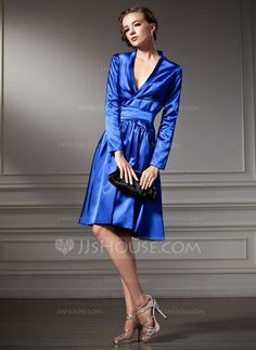 Cocktail Dresses - $117.49 - A-Line/Princess V-neck Knee-Length Charmeuse Cocktail Dress With Ruffle (016013818) http://jjshouse.com/A-Line-Princess-V-Neck-Knee-Length-Charmeuse-Cocktail-Dress-With-Ruffle-016013818-g13818