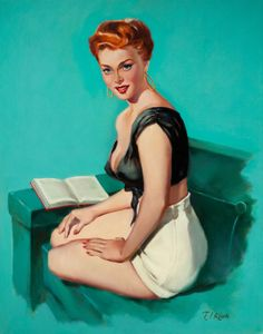 Reading Is Sexy Retro/Vintage Reading Pin Up Girl Photo image 7 Vintage Redhead, Lingerie Look, Ted, Earl Moran, Retro Pin Up, Calendar Girls, Gil Elvgren, Nose Art, Pin Up Art