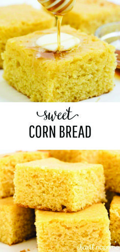 This moist and fluffy sweet cornbread is one of my favorites to make during the fall. It pairs perfectly with a hot bowl of chili. This is the best cornbread recipe! Cornbread Recipe No Eggs, Jiffy Cornbread Recipes, Cornmeal Recipes, Honey Cornbread, Baking Recipes, Cake Recipes, Sweet Jiffy Cornbread, Southern Cornbread Recipe, Cornbread Muffins