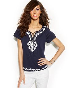 INC International Concepts Metallic Embroidered Peasant Top
