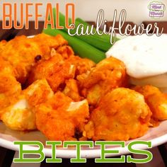 Ripped Recipes - Buffalo Cauliflower Bites - Do you love buffalo chicken wings? Unfortunately, they're generally not particularly nutritious if they're fried and tossed in that buttery sauce... Here's an easy way to get your buffalo fix with a VEGETABLE... cauliflower!!! These Buffalo Cauliflower Bites are SERIOUSLY delicious. My boy is the biggest buffalo fan and HATES vegetables and he actually devoured all of these.