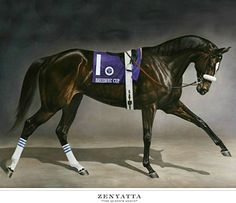 The iconic official painting (yes, I know it's on everybody's board:) of The Queen, Zenyatta. painting: Jaime Corum.
