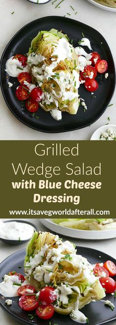 Seared iceberg wedges make up the base of this healthy, vegetarian wedge salad! Topped with fresh cherry tomatoes, chives, and a yogurt blue cheese dressing, it makes a great side dish for any summer meal. #grilledveggies #salad