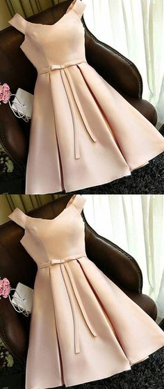 champagne satin short prom dress, cute homecoming dress N10283