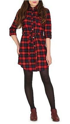 Tenki - Multicoloured belted tartan shirt dress fa19cbf6257
