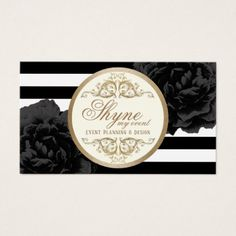 Event Planning Black Floral Modern Stripes Business Card - stylist business cards cyo personalize businesscard diy