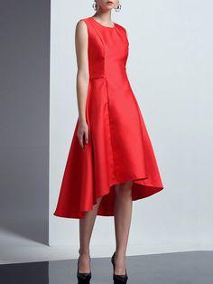 Shop Midi Dresses - Red Sleeveless Asymmetrical Asymmetric Midi Dress online. Discover unique designers fashion at StyleWe.com.
