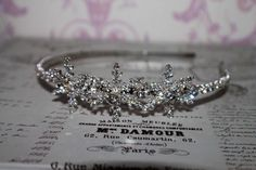snowflake headpiece wedding headdress diamante by Sparklebyelle