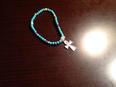 Brazalete tibetano turquesa, chakras Howlita multicolores con dije de la llave de la vida o la cruz egipcia para mujeres..