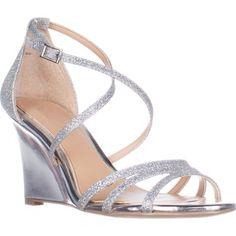 Jewel Badgley Mischka Hunt Strappy Wedge Sandals, Silver Glitter    #badgleymischka #sandals #heels #wedge #dresssandals #eveningshoes #silver #glitter #shoes #fashion #retail #shopping #style #trend #love #womensfashion