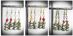 Christmas tree earrings czech glass. green trees with by terramor