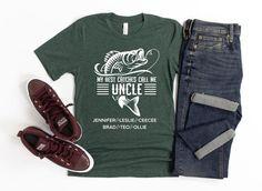 Uncle Fishing Shirt/ Custom Uncle Gift/ Personalized Fishing | Etsy Fishing Shorts, Uncle Gifts, T Shirt Photo, Fishing Gifts, Niece And Nephew, Bella Canvas, Custom Shirts, Fish Illustration, Online Gift