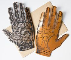 This is a great card to give a high five to yourself, or to give to a friend who is searching for answers in the palm of their hand! The front of this copper-foil folded card names the lines of your h