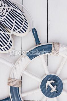 Marine style card. White and blue nautical theme. — Stock Photo © NataliaMilekhina #83359964