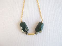 Jade Necklace - Jade Stone, brass beads and vintage bar, gold plated chain