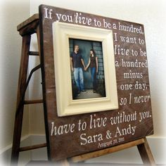 Picture Frame Personalized Frames Custom Wedding Gift 16x16 IF YOU LIVE Anniversary Love Father Mother Parents Quote Song Vows Guest Book