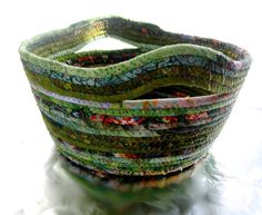 Coiled Rope Basket Green Floral Mothers Day Upcycled by SallyManke, $36.00