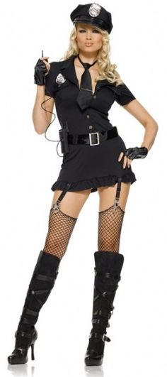 Dirty Cop Ladies Costume - Calgary, Alberta. The Cop costume is great for bachelorette, Halloween, cops and robbers party.  This Dirty Cop costume can be as dirty as you want her to be.  Dirty Cop comes with a one piece button front dress made from a stretchy black material and a detachable badge. It has a frilly hem and attached garters with detailed thumb cuffs attached. The hat has a solid brim and a removable police badge.
