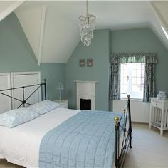 Farrow & Ball - bedroom with walls in Green Blue Estate Emulsion and ceiling/trim in Wimborne White Estate Emulsion and Estate Eggshell.