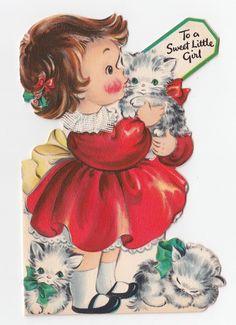 Vintage Greeting Card Christmas Die-Cut LIttle Girl Cat Kittens Hallmark 1940s