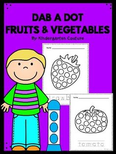 This product includes 28 Fruits & Vegetables.  Great for fine motor!  Students will trace the name of the fruit or vegetable then use a bingo dauber, highlighter, color, finger paint or stickers to fill in the dots on the picture.  Pictures included are:  apple, banana, blueberry, cherry, fig, grapes, kiwi, lemon, orange, pear, plum, strawberry, watermelon, beet, bell pepper, broccoli, carrot, corn, cucumber, eggplant, garlic, hot pepper, lettuce, mushroom, onion, potato, pumpkin and tomato.