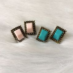Vintage style earrings *pricing in description Vintage look earrings. Brand new in packaging. Clear backings. Price is for one pair.                   Availability- TURQUOISE: 4 • PINK: 4                                    ⭐️This item is brand new with manufacturers tags, boutique tags, or in original packaging. NO TRADES Price is firm unless bundled Ask about bundle discounts EARRING PRICES:  •2-3 pairs $7 each •4 pairs $6 each •5+ pairs $5 each Boutique Jewelry Earrings