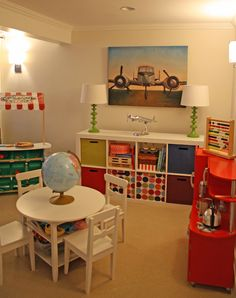 Guest room/Play Room Ideas -- craft table and chairs, shelves and kitchen set