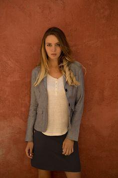 Jupe MARCEL  #terreetmer #été #cassis Armor Lux, Marcel, Blazer, Collection, Jackets, Women, Fashion, Skirt, Down Jackets