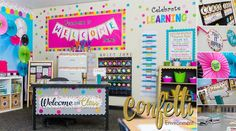 VIEW DECORATING IDEAS Use this Confetti Classroom theme to celebrate learning everyday! This bright and beautiful Classroom Environment will deliver s. Preschool Classroom Decor, Preschool Rooms, 2nd Grade Classroom, Classroom Rules, Classroom Setup, Kindergarten Classroom, Future Classroom, Classroom Board, Class Decoration