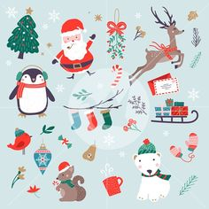 Christmas Characters Set by origamiprints on @creativemarket