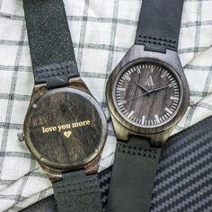 Tree Hut Black Wooden Leather Watch