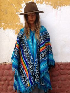 The Child's Heart Blue Peruvian Poncho / Cape with by LivingAltar, $150.00