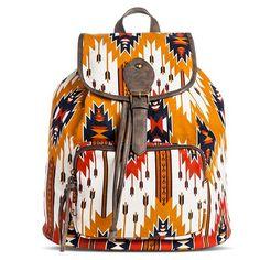 Women's Aztec Print Backpack Handbag - Orange