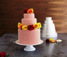Peachy wedding cake