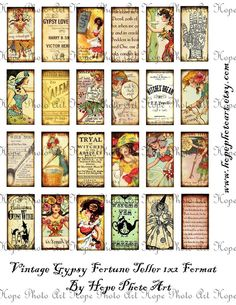 Vintage Gypsy Fortune Teller 1x2 Digital Collage Sheet- tags glass tile domino jewelry supplies - U-print 300 dpi jpg. $1.98, via Etsy.