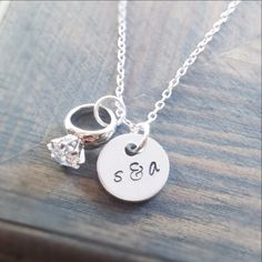 Couples Initials and Engagement Ring Necklace - Gracefully Made