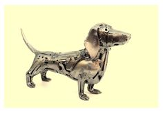 'Dashchund' sculpture made from discarded metal by Brian Mock