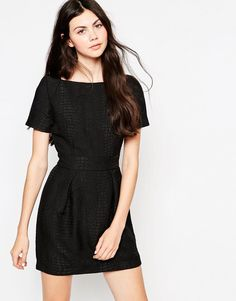 French Connection | French Connection Croc Luxe Slash Neck Dress at ASOS