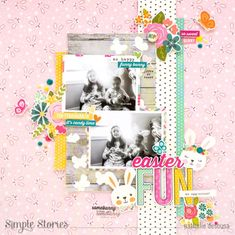 """The Easter fun has just begun! Add vibrant pastel colors to your favorite family memories with the """"Hip Hop Hooray"""" Collection from Simple Stories. Project Life Scrapbook, Baby Scrapbook, Scrapbook Cards, Birthday Scrapbook, Scrapbook Sketches, Scrapbook Page Layouts, Diy Arts And Crafts, Paper Crafts, Dyi Crafts"""