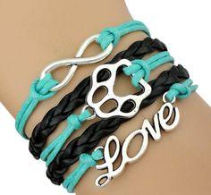 Infinity Love Dog Paw Bracelet