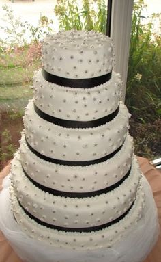 fake wedding cakes for sale black and white octagonal cake with black swirl design and 3997