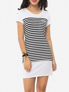 Striped Classical Round Neck Shift-dress