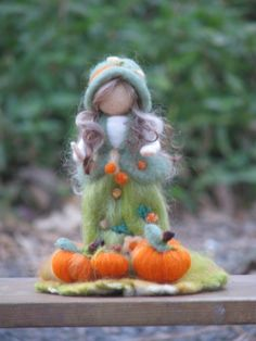 October ~ Pumpkins ~ Needle Felted Girl with Pumpkins Felted Wool Crafts, Felt Crafts, Needle Felting Tutorials, Clay Fairies, Felt Fairy, Clothespin Dolls, Wool Art, Needle Felted Animals, Waldorf Dolls