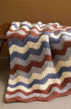 Crochet Afghan Patterns Smoky Mountain Ripple Afghan (Crochet) free pattern - Uses Hometown USA Yarn - Crochet Afghans, Crochet Ripple Afghan, Chevron Afghan, Baby Afghans, Crochet Blankets, Crochet Crafts, Crochet Yarn, Easy Crochet, Free Crochet
