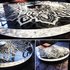 This Lazy Susan created from thick clear Perspex with detailed Laser Engraving is the perfect functional center piece.