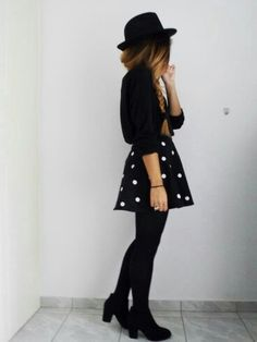 Black style with pocka dots skirt