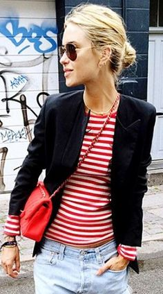 French Ethereal || Kibbe's Gamine - red striped top and blazer