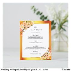 Shop Wedding Menu pink florals gold glam elegant created by Thunes. Wedding Menu Cards, Wedding Table Settings, Personal Photo, Pink And Gold, Florals, Envelope, Wedding Flowers, Reception, Place Card Holders