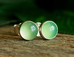 Chrysoprase Gemstone Earrings Green Studs 6mm by PJsPrettys